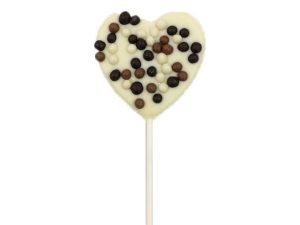 Sucette Coeur Chocolat Blanc