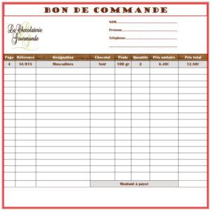 Bon de commande - La Chocolaterie Gourmande à Amboise